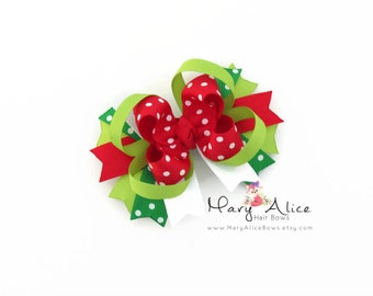 "Christmas Boutique Hair bow- 4"" Stacked Bow, Large Bow, Girls Hair Bow, Toddler Hair Bow, Alligator Clip, French Barrette- Made to Order"