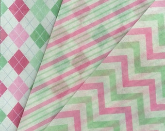 Pink and Green Chevron and Stripes Edible Wafer Paper
