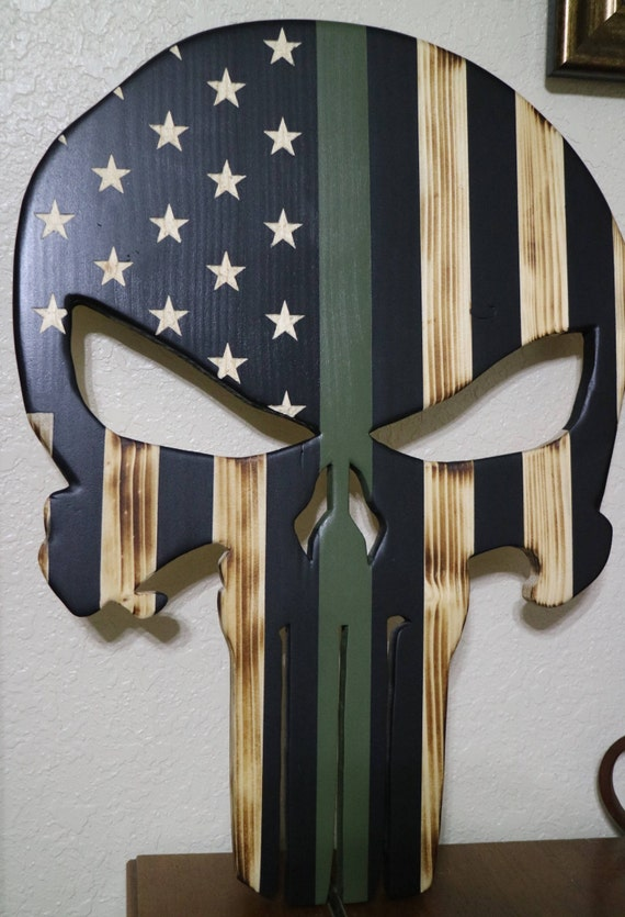 Wooden Punisher Skull American Flag With Thin Green Line