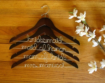 Set of 4 Personalized Dress Hangers - Bridal Party, Flower Girl, Bridesmaid Gift, 10% QUANTITY DISCOUNT