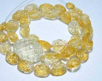 12 Inches Strand Very Beautiful Natural Citrine Hand Carved Nuggets Size 15X11 - 10X8 MM