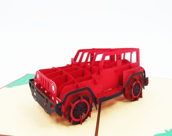 Red Jeep 3D Pop Up Card,3D Card, Pop Up Card, Pop Card, PopCardExpress, Pop Card Express, card for her,birthday jeep card, pop up card