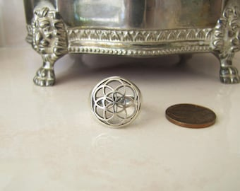 Flower of Life Sterling Silver Ring, size 8, Spiritual gift