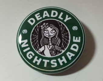 NIghtmare Before Christmas Sally and Jack Skellington Starbucks Coffee Style  Pin Badge Button