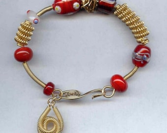 Red Lampwork Beads and 14K Fill Gold Bangle Bracelet