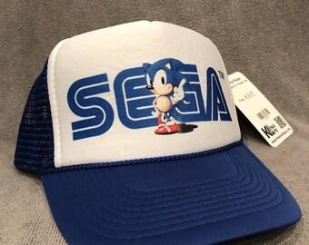 SEGA Sonic Hedgehog Trucker Hat Old Logo Vintage  Snapback Cap Blue 2178
