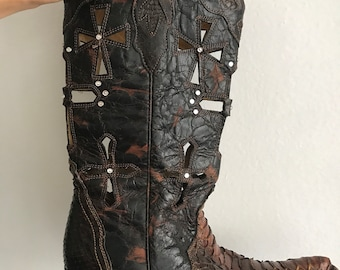 Brown leather cowboy boots size