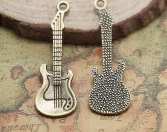 25pcs Guitar Charms  bronze Tone Guitars Charm Pendants 31x11mmASD0517