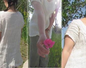 013---Hand Embroidered Short Sleeve Off White Linen Tee Shirt / Blouse, Hand Stitched Linen Shirt, Made to Order.