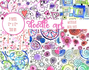 Doodle Digital Paper, Watercolor, Doodle, Colorful,  Scrapbook Paper, Digital Wallpaper, Digital Paper Pack, Digital Background