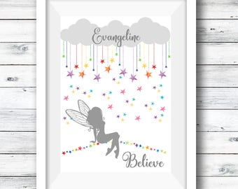 Rainbow Fairy Print, Reach for the Stars, Personalised Fairy, Fairy, Nursery Decor, Nursery Quote Print, A4 Print Childrens' Room, Artwork