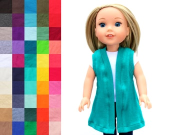 Fits like Wellie Wishers Doll Clothes - Tunic Length Cardigan, You Choose Color and Sleeve Length   14.5 Inch Doll Clothes