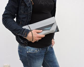 geometique gray faux leather hand bag
