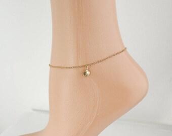 Gold Seashell Ankle Bracelet - Beach Charm Anklet - Shell Charm Anklet