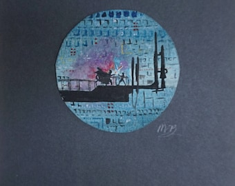 Small Star Wars Original Watercolour Circle - Mounted. A5 approx.