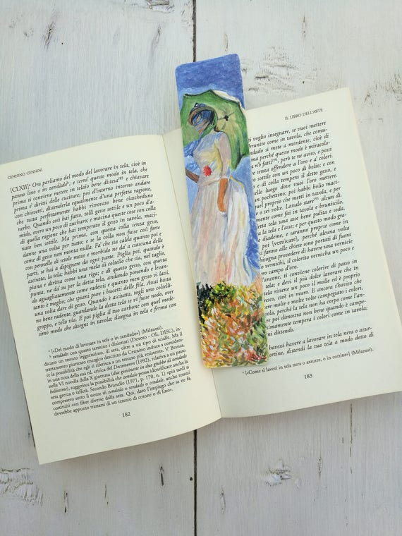 Bookmark Watercolor, handmade, paper bookmarks, custom bookmarks, wedding favors-Impressionists #1