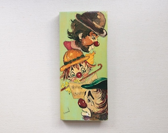 Folk Art Painting of Clowns Playing Music, Wall Art for Child's Room