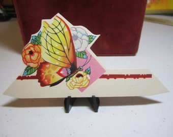 Art Deco colorful unused 1930's die cut place card large colorful butterfly surround by large flowers