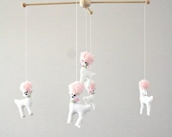 Poodle Dog Animal Baby Crib Mobile Girls Nursery Decor - White - Pink - Girly