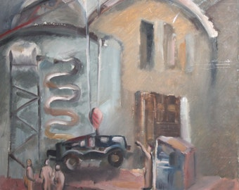 Vintage social realism cityscape oil painting