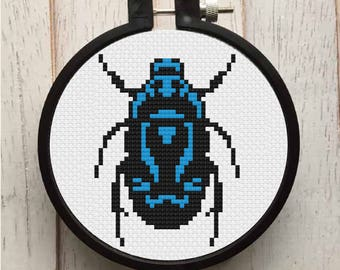 Beetle Bug Counted Cross Stitch PATTERN DIGITAL DOWNLOAD Beginner
