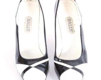 Pair of Bally Black and White Patent Leather Stiletto Pumps 8 1/2 M