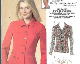 JACKETS 30 Minutes to Sew by NANCY ZIEMAN for McCall's Pattern 5526  Misses Sizes 8 10 12 14 16 18 20