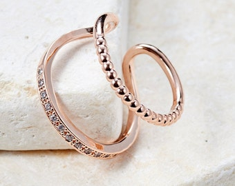 Lily Ring white gold/ rose gold/ yellow gold plated adjustable ring simple ring gift idea unique ring