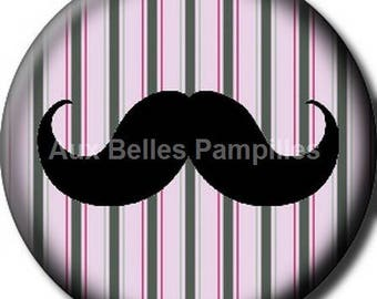 """Round cabochon resin 25 mm - """"whiskers"""" stick (1072) - mustache, gift, gift."""