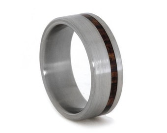 Titanium Wedding Band with Kingwood Pinstripe, Wood Ring For Men or Women