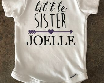 Little sister onesie, personalized onesie, baby onesie, custom onesie, baby bodysuit, little sister