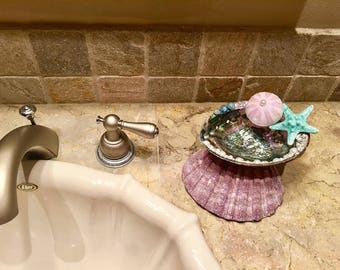 Trinket Purple Abalone Dish For Bathroom Or Bedroom Decor