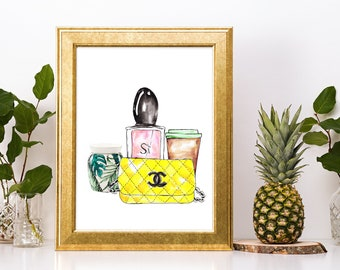 Vanity Decor Instant Download Print - Scentsy Warmer, Si perfume, Coffee and Chanel purse.