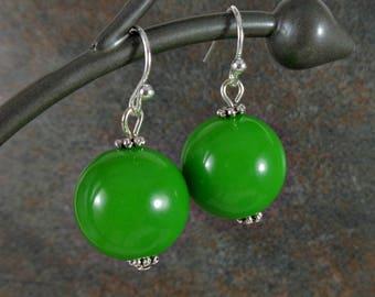 Gumball Earrings, Bead Earrings, Green, Chunky Earrings, Silver, Green Earrings, Drop Earrings, Dangle Earrings, Round, Ball Earrings