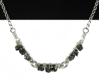 Rough Diamonds on Textured Links - Bar Necklace - Raw Diamond Triple Bar Necklace - Wire Wrapped - April Birthstone