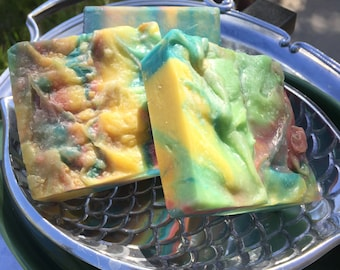Apple/Sage soap cold process soap Hand made soap  Bar soap blue yellow pink soap clay soap silk soap