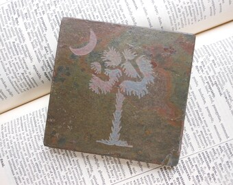 South Carolina Palmetto ART TILE - Natural Slate Stone - South Carolina Gift Coaster Art SC State Decor, Hand Carved Handmade Coaster Tile