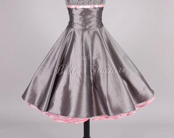 Custom Made & Handmade - 50s petticoat dress grey/pink item: jolie grey