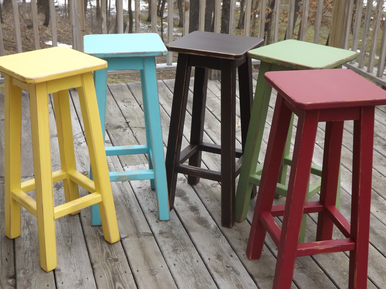 Reclaimed wood bar stool counter bar stool painted