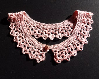 Crochet Peter Pan Collar, Romantic Look, Tender Pink Cotton Yarn