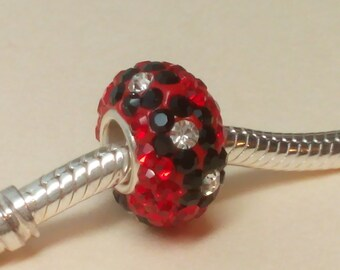 Sterling Silver Cubic Zirconia CZ Red flowers bead for European Bracelets