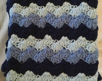 Crochet Baby Blanket-Travel/ Stroller/Car Seat/Crib/ Shades of Blue