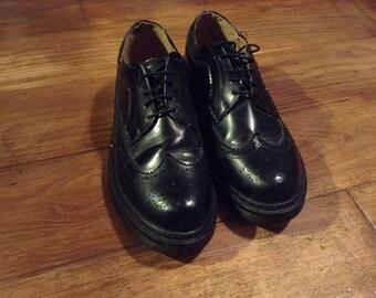 Men's Black Brogue Shoes Black  Casual Wingtip Oxford Shoes Men's Progressive Safety Work Shoes Size EUR 42 UK 8