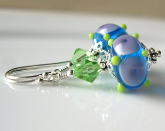 Play  Lampwork earrings In sterling silver Blue purple and green