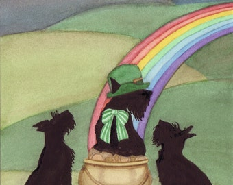 Scotties find a rainbow complete with a pot o' gold / Lynch signed folk art print