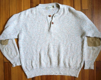 Vintage St Johns Bay Jeanswear Sweater Long Sleeve Cotton Shirt // 90s Made in USA // Two Button // Elbow Patch