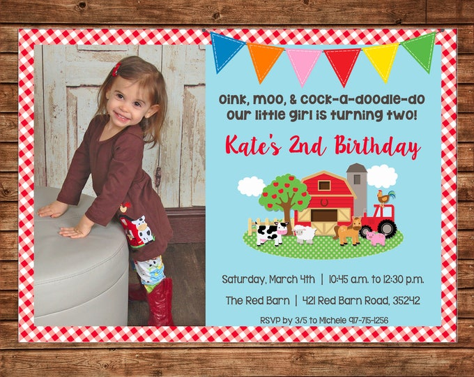 Boy or Girl Photo Invitation Barnyard Barn Petting Zoo Farm Birthday - Can personalize colors /wording - Printable File or Printed Cards