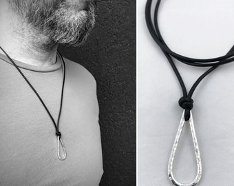 Men's Sterling Silver Drop Necklace - Rustic - Hammer Formed Textured Drop - Adjustable Leather Cord