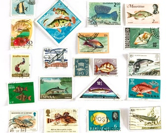 20 x Fish postage stamps - from 17 countries, used, off paper, all different - Ocean - Beach - for stamp collecting, mail art, scrapbooking