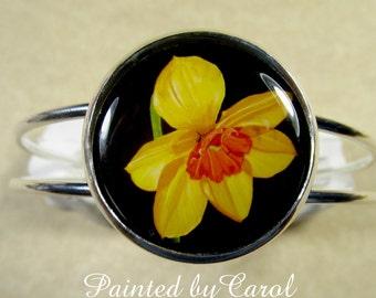 Daffodil Bracelet, Yellow Jonquil Jewelry, Daffodil Jewelry, Daffodil Cuff, Easter Bracelet, Easter Jewelry, March Birthday Jewelry